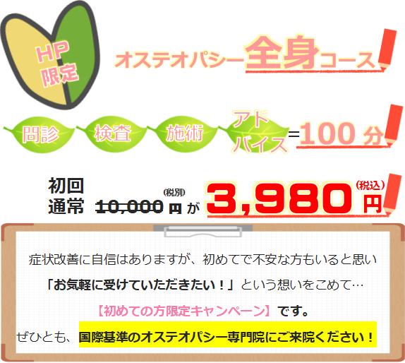 初めての方限定料金、初回9900円が2980円に