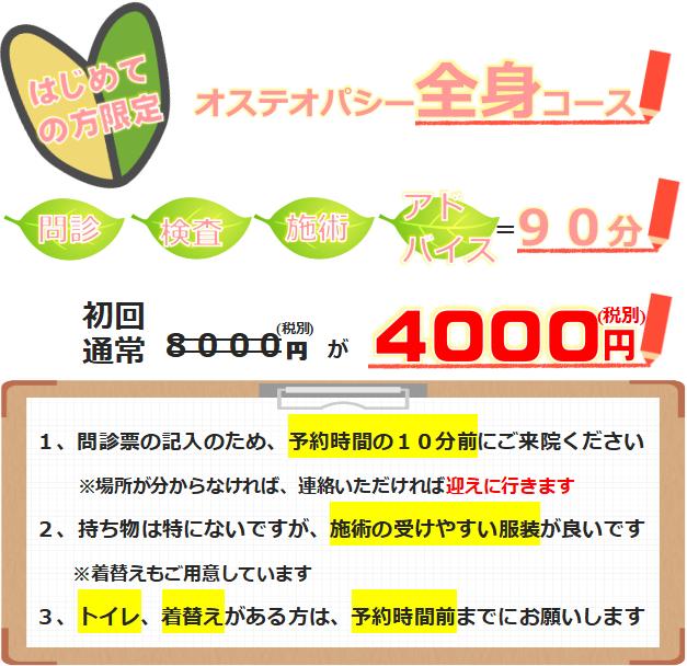 初めての方限定料金、オステオパシー全身コース、90分が8000円が4000円に